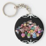 Elegant Cupcakes (Black) Basic Round Button Keychain