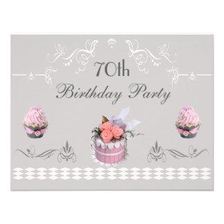 Elegant Cupcakes Pink Grey 70th Birthday Announcements