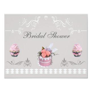 Elegant Cupcakes Pink & Grey Bridal Shower Card