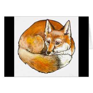 Elegant Curled Red Fox Greeting Card, Customizable Card