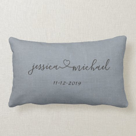 Elegant Cursive Script Heart Names Wedding Date Lumbar Pillow
