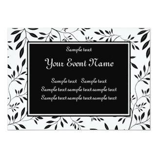 "Elegant Custom Black and White Nature Event 5"" X 7"" Invitation Card"