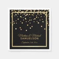 Elegant Custom Black Gold Confetti Wedding Paper Napkin