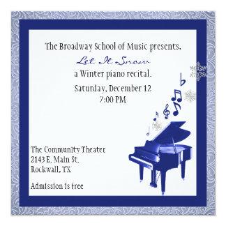 "Elegant Custom Blue Piano Recital Invitation 5.25"" Square Invitation Card"