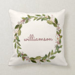"Elegant Custom Christmas Wreath Vintage Script Throw Pillow<br><div class=""desc"">This lovely Christmas pillow features a wreath with holly berries and winter greenery surrounding your last name in vintage hand written script. Easy to customize with your own name. Background is an ivory white. The back of the pillow features a deep red. This is a beautiful pillow to add to...</div>"