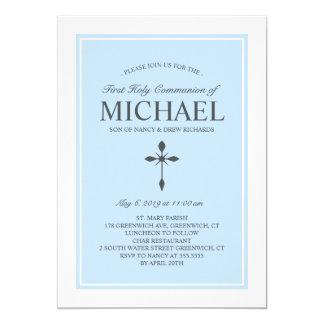 Elegant Custom Color Communion Invitation Blue