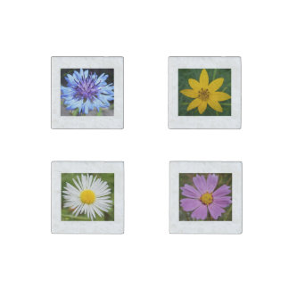 Elegant Custom Floral Stone Magnet