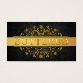 Elegant Custom Logo Dark Damask Gold Stripe Business Card