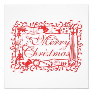 Elegant Custom Merry Christmas Floral Pattern Card Art Photo