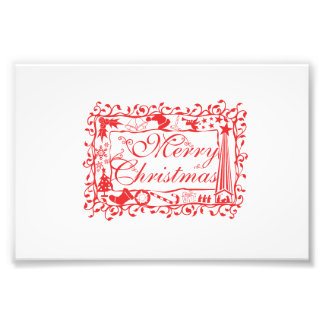 Elegant Custom Merry Christmas Floral Pattern Card Photographic Print
