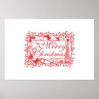 Elegant Custom Merry Christmas Floral Pattern Card Poster