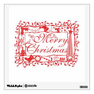 Elegant Custom Merry Christmas Floral Pattern Card Room Graphic