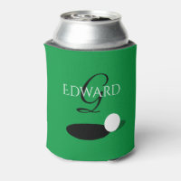 Elegant custom monogram golf can cooler for golfer