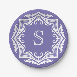 Elegant Custom Monogram Purple and White Letter S Paper Plate