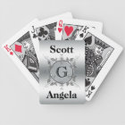 Elegant Custom Monogrammed Metal Look Personalized Bicycle Playing Cards