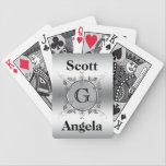 "Elegant Custom Monogrammed Metal Look Personalized Bicycle Playing Cards<br><div class=""desc"">Customized monogram deck of cards- Circular frame looks like 3D metal leaves and scrolls against a faux brushed metal finish. In the center is a personalized monogram in elegant traditional lettering. Top and bottom feature names of couple or anything you would like. Personalize with your family name, or add a...</div>"