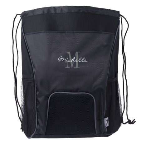 Elegant custom name monogram drawstring backpack