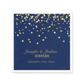 Elegant Custom NAVY BLUE Gold Confetti Wedding Paper Napkin
