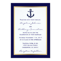 Elegant Custom Navy Blue Nautical Wedding Invites