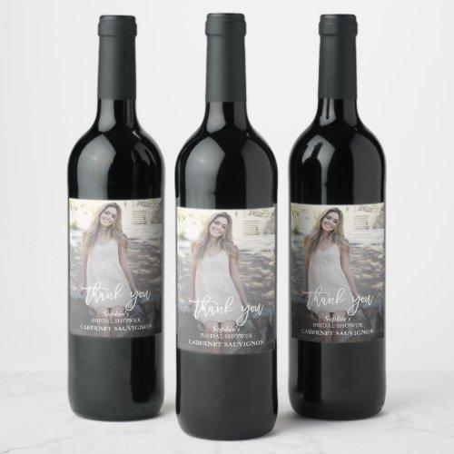 Elegant Custom Photo Bridal Shower Wine Label