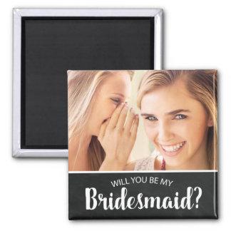 ELEGANT CUSTOM PHOTO BRIDESMAID | BE MY BRIDESMAID 2 INCH SQUARE MAGNET