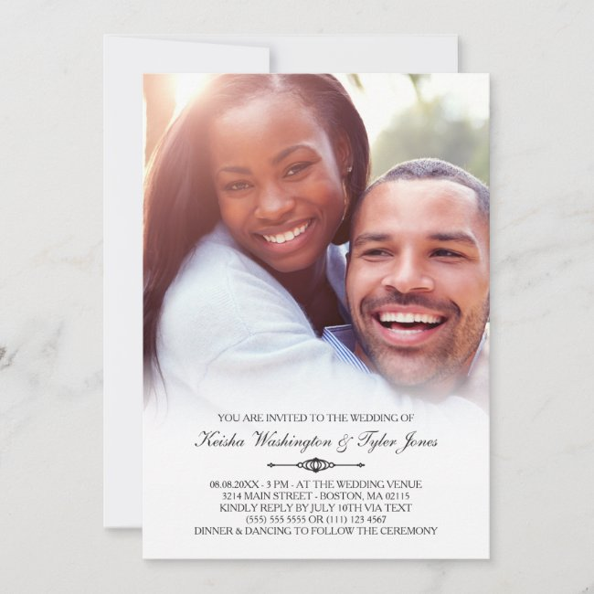 Elegant Custom Photo Wedding Invitation