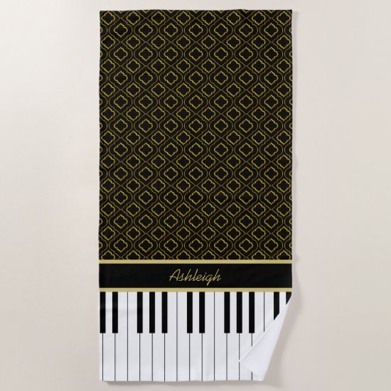 Elegant Custom Piano Keys with Gold Quatrefoil Beach Towel