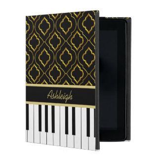 Elegant Custom Piano Keys with Gold Quatrefoil iPad Cover