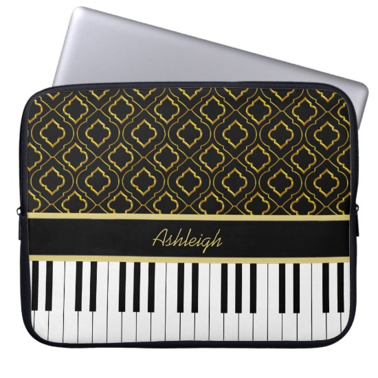 Elegant Custom Piano Keys with Gold Quatrefoil Laptop Sleeve
