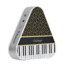 Elegant Custom Piano Keys with Gold Quatrefoil Speaker