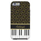 Elegant Custom Piano Keys with Gold Quatrefoil Tough iPhone 6 Case