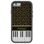 Elegant Custom Piano Keys with Gold Quatrefoil Tough Xtreme iPhone 6 Case