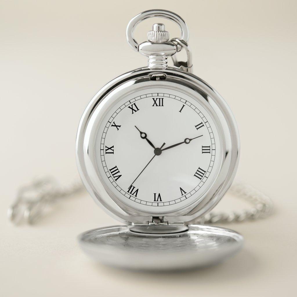 Elegant Custom Roman Numerals Silver Pocket Watch