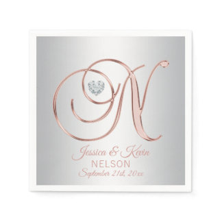 Elegant Custom Silver Grey Rose Gold Wedding Napkins
