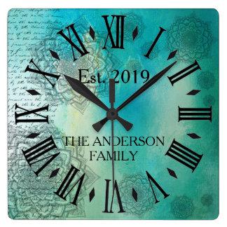 Elegant Custom Teal Blue Mandela Square Wall Clock