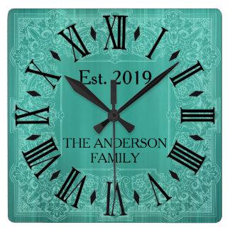 Elegant Custom Teal Blue Victorian Lace Square Wall Clock