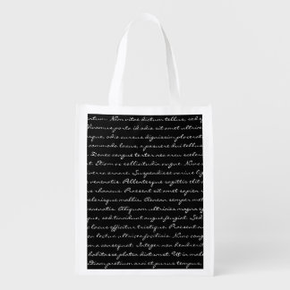 Elegant Custom Text Reusable Grocery Bags