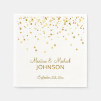 Elegant Custom White Gold Confetti Wedding Napkin
