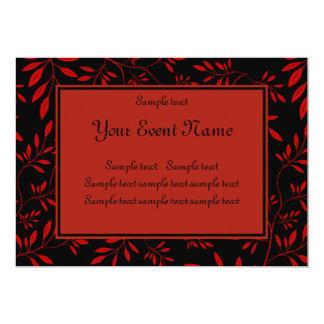 "Elegant Customizable Black and Red Nature Event 5"" X 7"" Invitation Card"