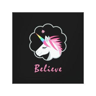 elegant cute believe in unicorns emoji canvas print