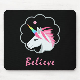 elegant cute believe in unicorns emoji mouse pad
