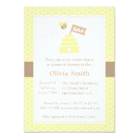 Elegant Cute Bumble Bee Baby Shower Invitations
