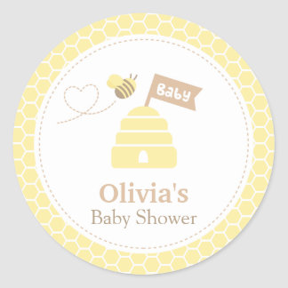 Elegant Cute Bumble Bee Baby Shower Labels Classic Round Sticker