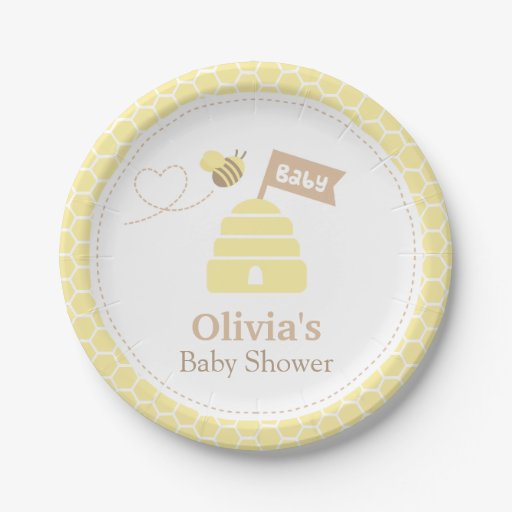 Baby Shower Plate: Elegant Cute Bumble Bee Baby Shower Supplies Paper Plate