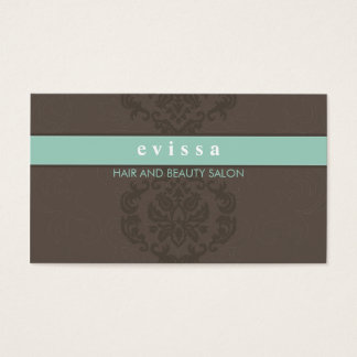 ELEGANT cute damask pattern finesse gray mint Business Card