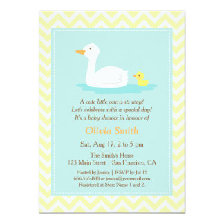 Elegant Cute Duck Chevron Baby Shower Invitations