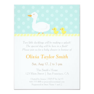Elegant Cute Duck Twins Baby Shower Invitations