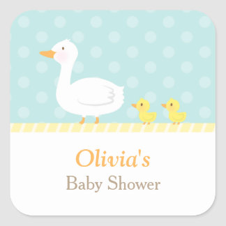 Elegant Cute Duck Twins Baby Shower Party Square Sticker