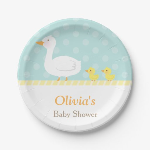 Baby Shower Plate: Elegant Cute Duck Twins Baby Shower Party Supplies Paper