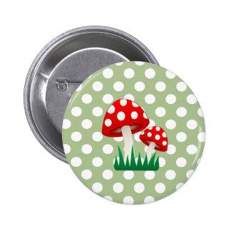 elegant cute fun girly mushrooms polka dots button
